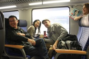 Hanging on a train somewhere with friend from Fellowship